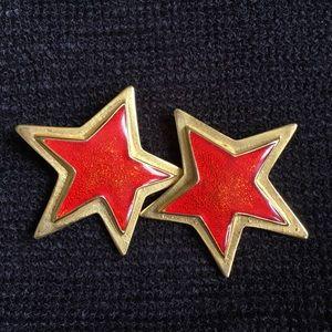 ESCADA clip on earrings Red & Gold Star